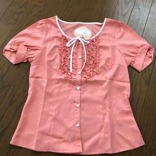 新品未使用☆可愛いピンクの半袖ブラウス☆M