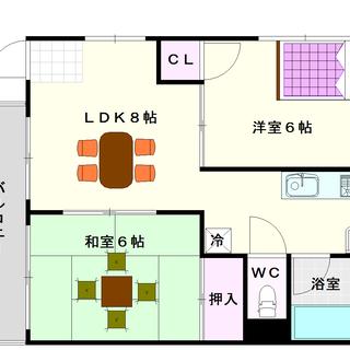 【青風ハイツ】5号タイプ!2LDKタイプ!リビングを挟んだ部屋設...