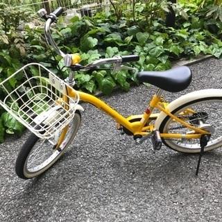 子供自転車 18インチ 黄色 asahi ヘルメット付 西宮