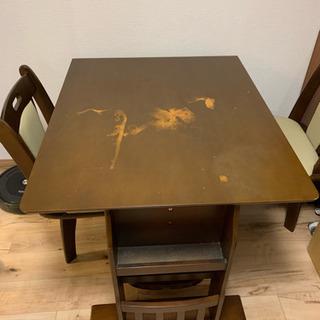 伸長式ダイニングテーブル+椅子2脚+ベンチ