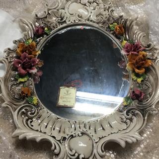 イタリア製 陶器 鏡  未使用