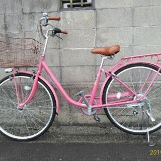 ピンク色がかわいい自転車です