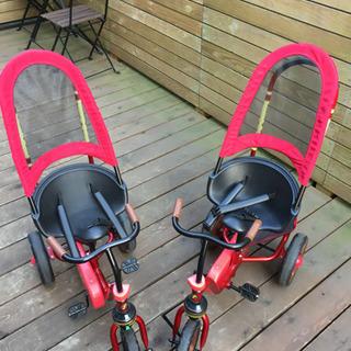 三輪車 2台!! 双子 年子 ピープル 赤