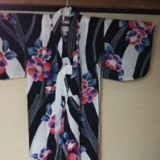 ≪中古≫手縫い 浴衣 女の子 120~130 絹帯着き