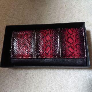 長財布(新品未使用)蛇皮赤