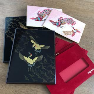 うるし塗 蒔絵 鶴の小箱セット