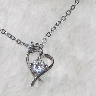 ハートリボン【スワロフスキー】一粒ダイヤモンド18kネックレス