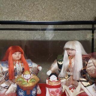 きめこみ人形 連獅子 ガラスケース付き