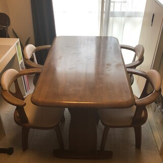 【取引中】天然木のダイニングテーブルセット