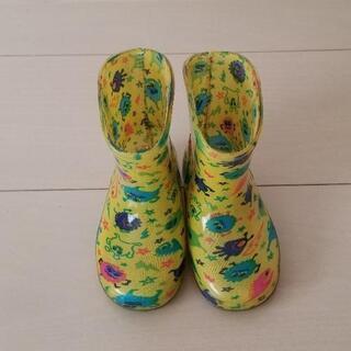 キッズ 長靴 レインブーツ 男の子 黄色 モンスター 13cm