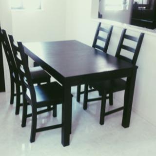 【美品】IKEA伸長式ダイニングテーブルセット 椅子4脚付き ほ...