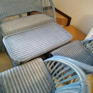 涼しげブルー応接セット籐製品リビングチェアー&テーブルセット