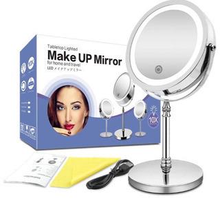 新品未使用 化粧鏡 ライト付き 卓上鏡