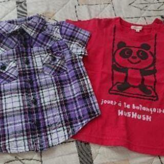 used☆HusHusHパンダ柄Tシャツ☆95