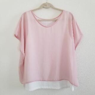 GU レイヤードT(半袖)  ピンクMサイズ