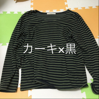 GLOBAL WORK 長袖Tシャツ M ボーダー カーキ×黒
