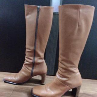 サイズ37 天然皮 ブーツ キャメル ロングブーツ