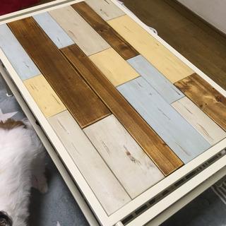 ローテーブル 天然木 棚付き 白 アイアン