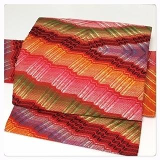 美品 未使用 化繊 付け帯 刺繍 名古屋 二部式 赤 中古品