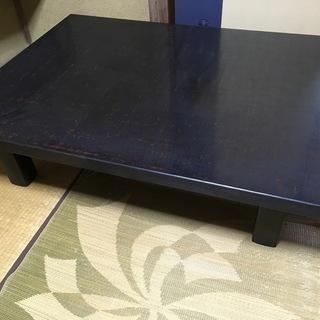大型座卓 木製塗り座卓 90×120×32cmくらい 濃紺地に朱文...