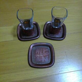 銅製コースター付きグラス