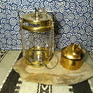 キャンプ用 キャンドルランタン ゴールドと真鍮のオイルランプ