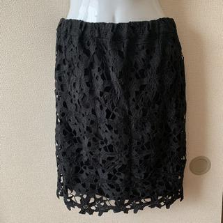 【試着のみ】花柄レースタイトスカート 黒 ブラック