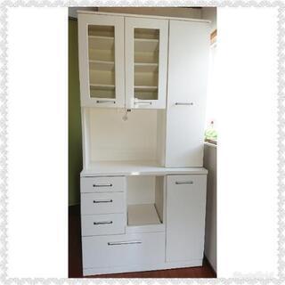 食器棚 マルミツ木工(ニトリ) 105㎝幅 ハイタイプ ホワイト