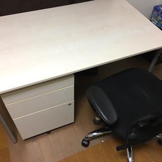 【美品】机、そで机、椅子、フローリング保護シートのセット