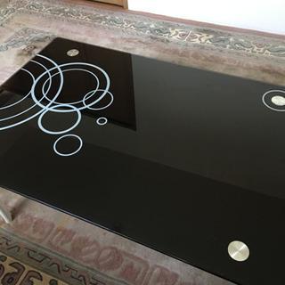 ガラス板の黒猫脚テーブル