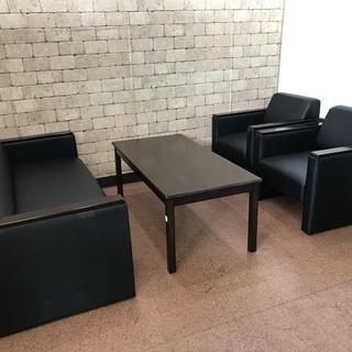 S06 中古 応接セット 椅子 テーブル ソファー 1P×2 一...