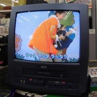 札幌 リモコンなし 動作OK テレビデオ ビデオデッキ ブラウン管TV テレビ 14型 フナイ電機 2004年製 - 札幌市