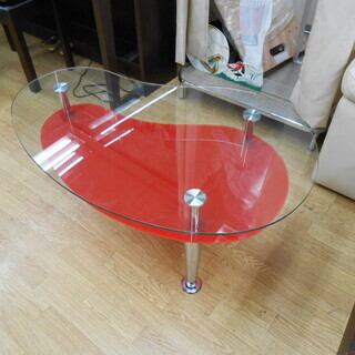 ガラステーブル 水滴型 ミニテーブル 赤 幅89×奥55×…