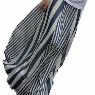 2colorストライプ マキシ スカート ネイビー黒ロング…