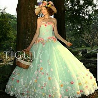 【取引中】TIGLILY ブライダルアモーレ カラードレス グリーン