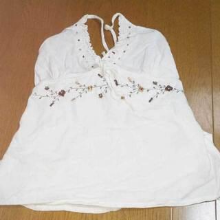 【未使用】アジアン系タンクトップ 刺繍とビーズ飾り 重ね着 サイ...