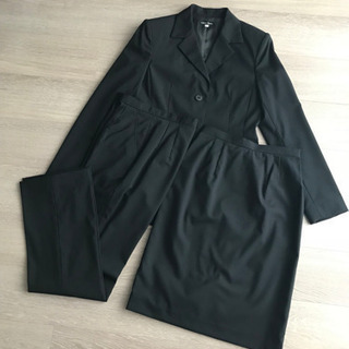 週末セール【未使用】スーツ 3点セット 黒 無地 シンプル スタ...