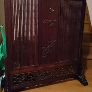 美品 天然木 高級 衝立 骨董 屏風 伝統工芸品 目隠し