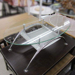 訳あり格安 ガラステーブル 楕円 センターテーブル オーバルテー...