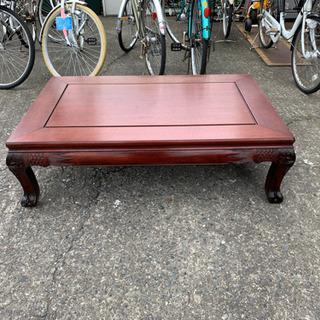 お洒落な彫刻の座卓 ローテーブル