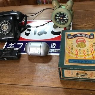 レトロ 6点セット(看板、紙箱、おもちゃの缶詰、目覚まし、カメラ...