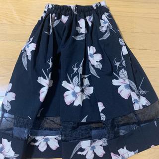 オーガンジー 花柄スカート