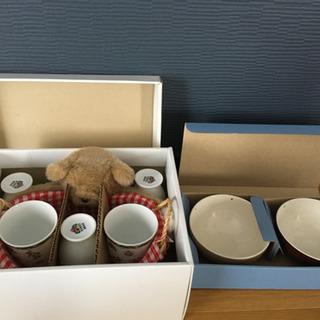 【あげます!!】クマのグラスセットとお茶碗お箸セット