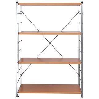 スチールシェルフセット ウッドシェルフ 4段木製棚板 ナチュラル