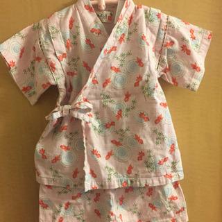 中古美品◎甚平90サイズ桃色ピンク金魚波紋水草柄