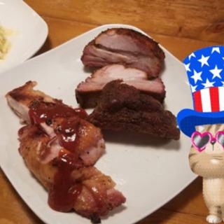 【BBQチキンと骨付きリブ】本場の本格的アメリカン・ディナー
