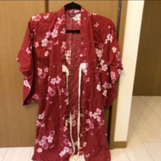 新品コムサイズム浴衣 100cm 子供浴衣帯セット 赤桜柄花柄和...