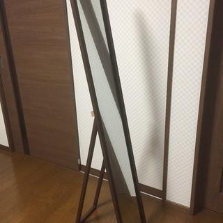 【交渉中】スタンドミラー  147×27 ブラウン 木目調 超美品