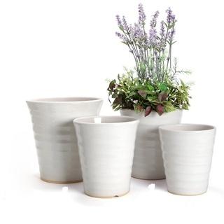 【3点で 1,000円】白い陶器製植木鉢セット 好みのサイズをお選...