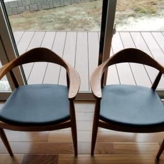 中古(半年) 椅子 ブラウン2脚